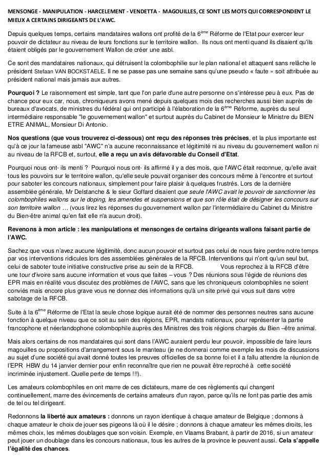 MENSONGE - MANIPULATION - HARCELEMENT - VENDETTA - MAGOUILLES, CE SONT LES MOTS QUI CORRESPONDENT LE MIEUX A CERTAINS DIRI...