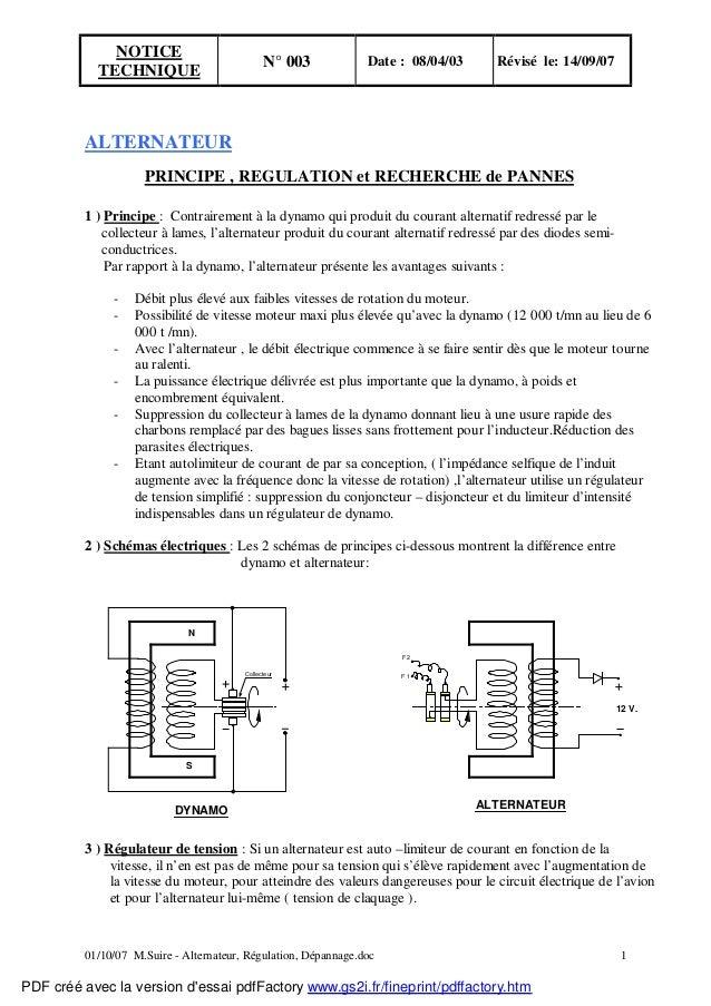NOTICE  TECHNIQUE N° 003 Date : 08/04/03 Révisé le: 14/09/07  ALTERNATEUR  PRINCIPE , REGULATION et RECHERCHE de PANNES  1...