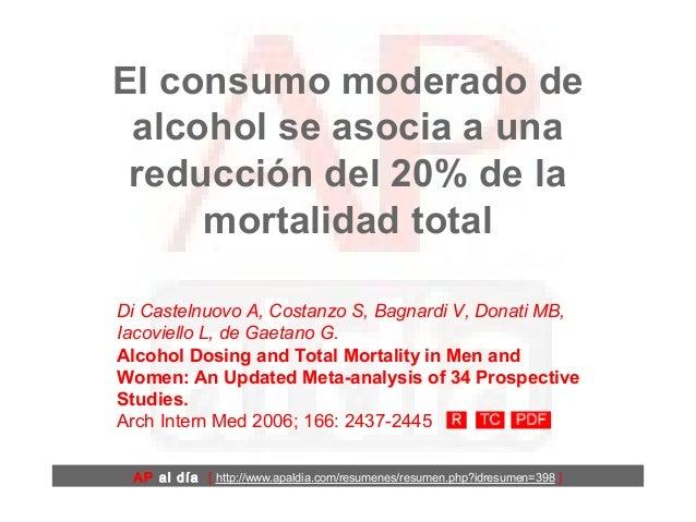 El consumo moderado de alcohol se asocia a una reducción del 20% de la mortalidad total AP al día [ http://www.apaldia.com...