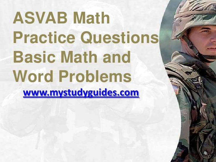 Asvab math practice worksheets pdf