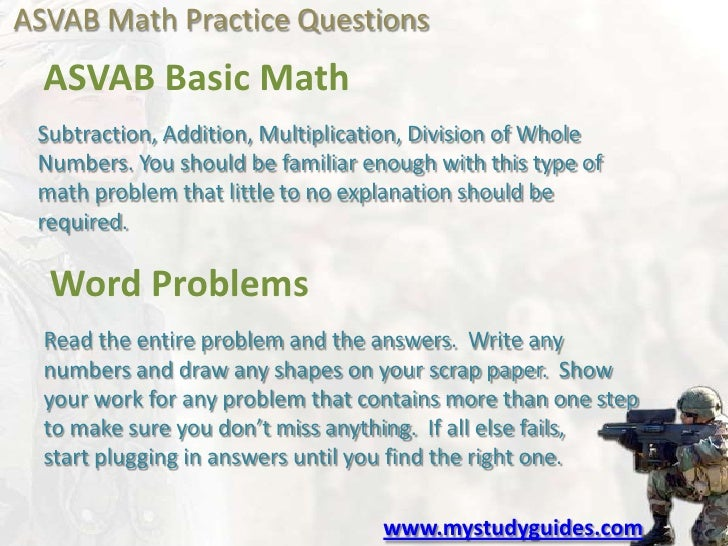 asvab math problems Start preparing now with our asvab arithmetic reasoning test for all areas of the asvab here to the process of solving math word problems.