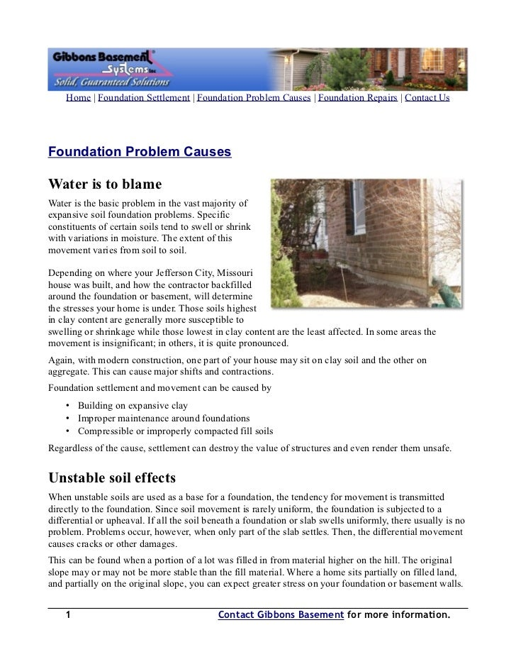 Home | Foundation Settlement | Foundation Problem Causes | Foundation Repairs | Contact UsFoundation Problem CausesWater i...
