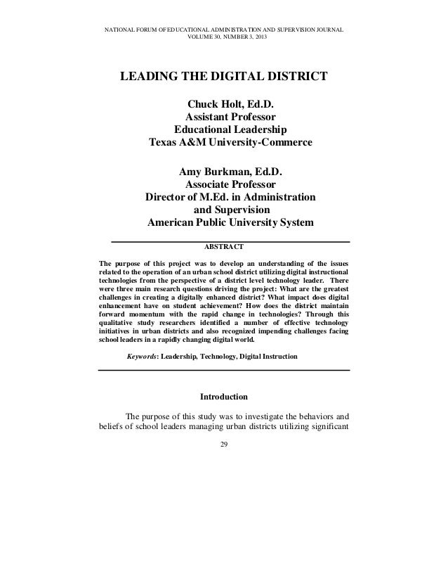 NATIONAL FORUM OF EDUCATIONAL ADMINISTRATION AND SUPERVISION JOURNALVOLUME 30, NUMBER 3, 201329LEADING THE DIGITAL DISTRIC...