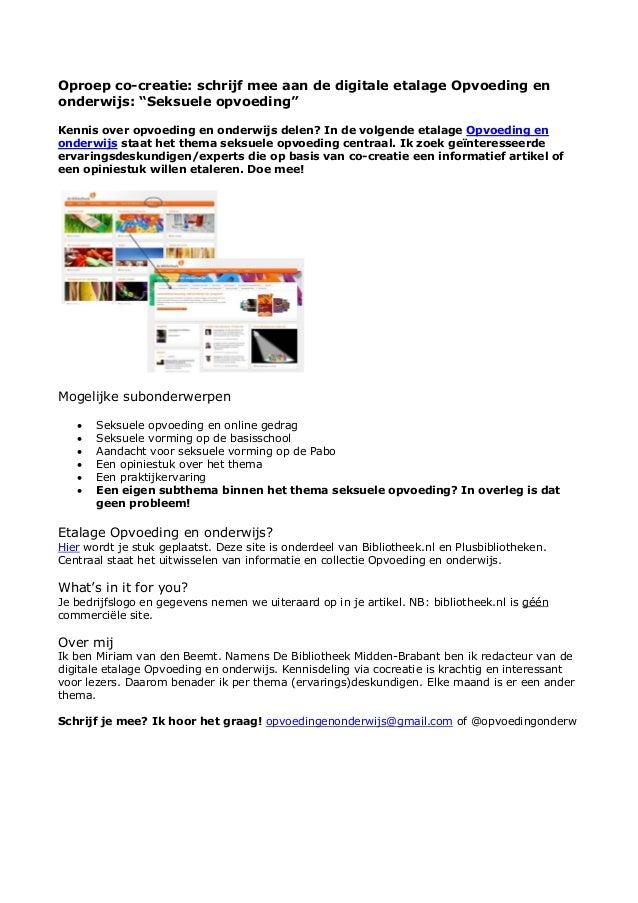 """Oproep co-creatie: schrijf mee aan de digitale etalage Opvoeding en onderwijs: """"Seksuele opvoeding"""" Kennis over opvoeding ..."""