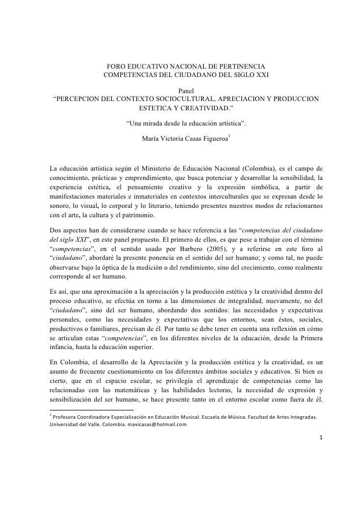 FORO EDUCATIVO NACIONAL DE PERTINENCIA                       COMPETENCIAS DEL CIUDADANO DEL SIGLO XXI                     ...