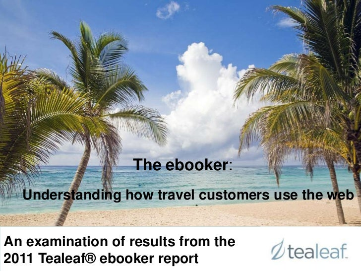 The ebooker:                  The ebooker:  Understanding how travel customers use the webAn examination of results from t...
