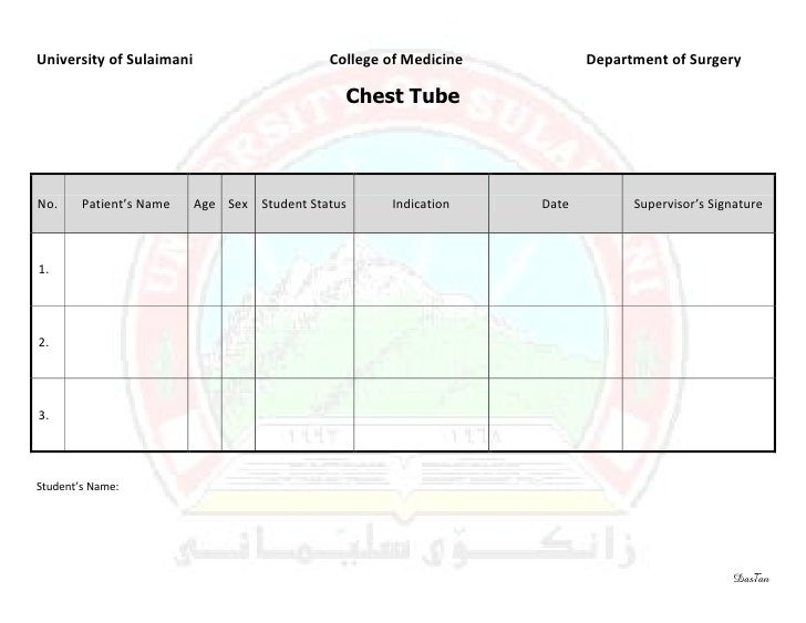 Surgery 6th year, Requirement Sheet (Chest Tube)