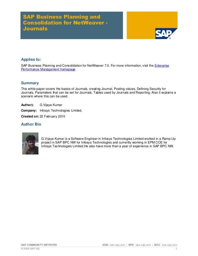 Journals SAP BPC 7
