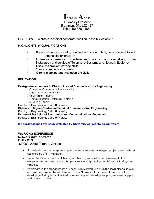 network administrator resume objective - Network Administrator Resume
