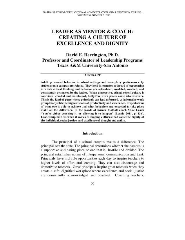 NATIONAL FORUM OF EDUCATIONAL ADMINISTRATION AND SUPERVISION JOURNALVOLUME 30, NUMBER 3, 201350LEADER AS MENTOR & COACH:CR...