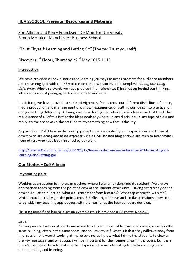 Trust thyself: vignettes - Simon Moralee, Zoë Allman and Kerry Francksen (De Montfort University)