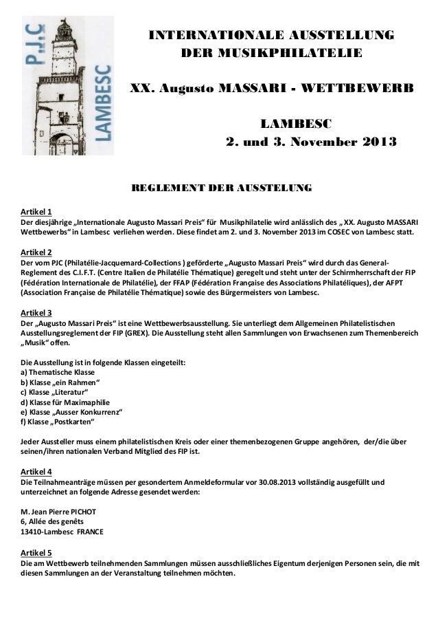 INTERNATIONALE AUSSTELLUNGDER MUSIKPHILATELIEXX. Augusto MASSARI - WETTBEWERBLAMBESC2. und 3. November 2013REGLEMENT DER A...