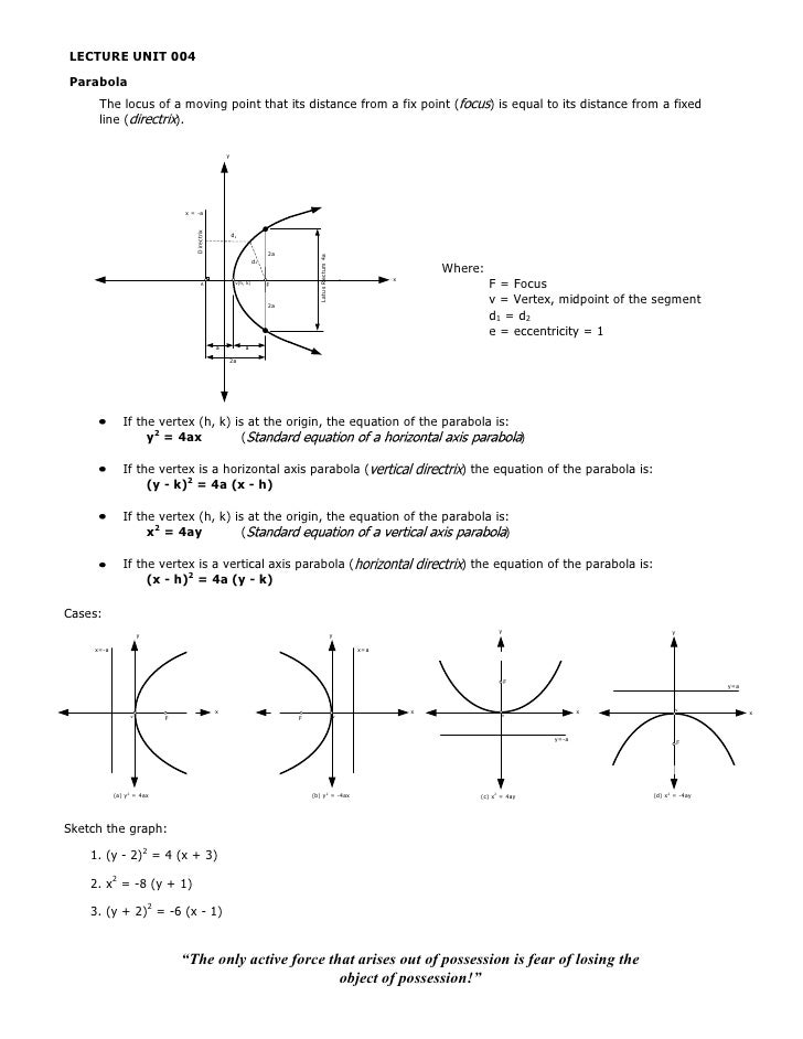 LECTURE UNIT 004Parabola      The locus of a moving point that its distance from a fix point (                            ...