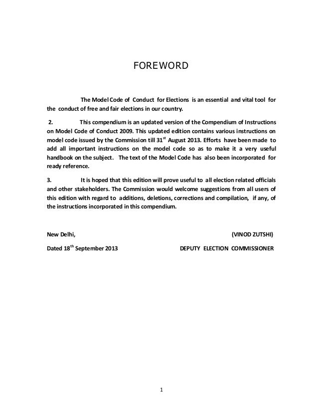 1 FOREWORD The Model Code of Conduct for Elections is an essential and vital tool for the conduct of free and fair electio...