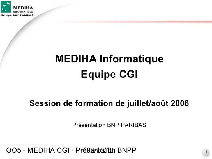 MEDIHA Informatique                 Equipe CGI      Session de formation de juillet/août 2006                  Présentatio...