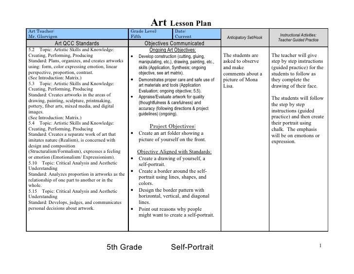 Art        Lesson Plan Art Teacher:                                       Grade Level:             Date: Mr. Glorvigen    ...