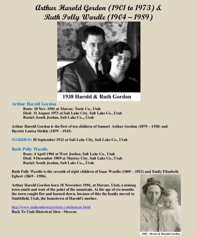 Arthur Harold Gordon & Ruth P. Wardle