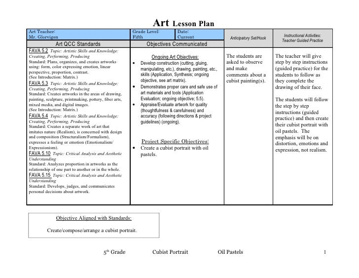 Art        Lesson Plan Art Teacher:                                             Grade Level:             Date: Mr. Glorvig...