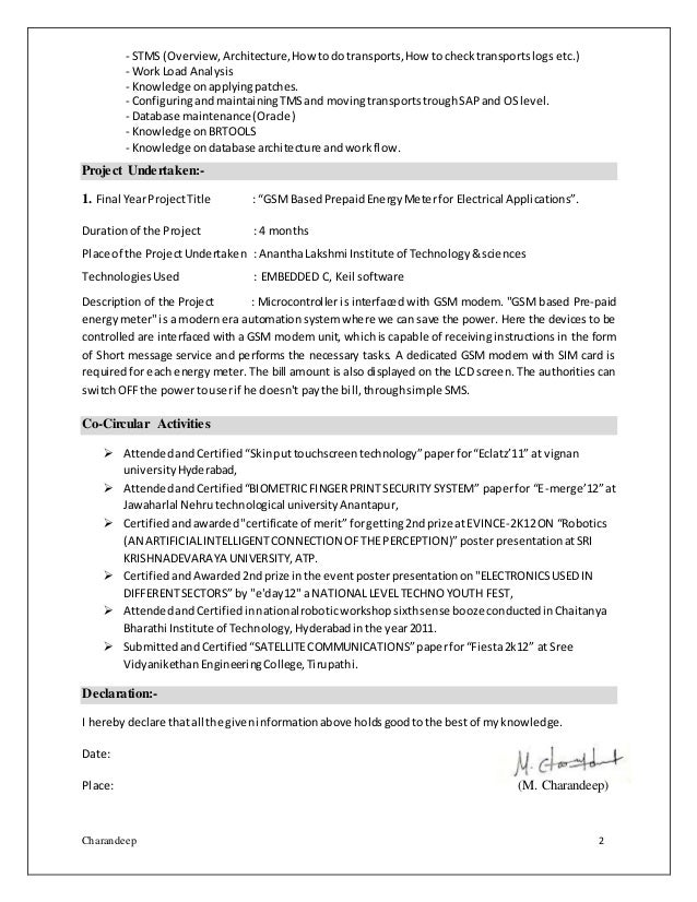 sap basis resume sample