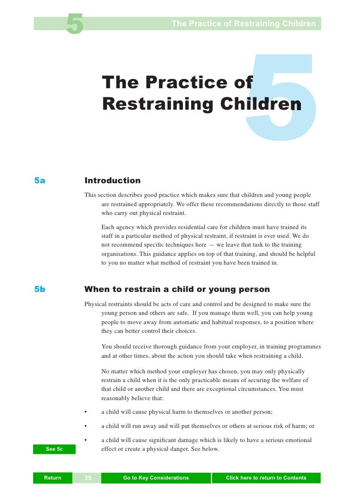 5                                    The Practice of Restraining Children     5a                         The Practice of  ...