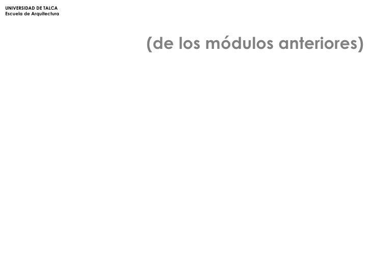 (de los módulos anteriores) UNIVERSIDAD DE TALCA Escuela de Arquitectura