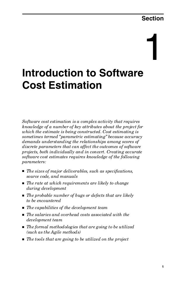 Introduction to Software Cost Estimation