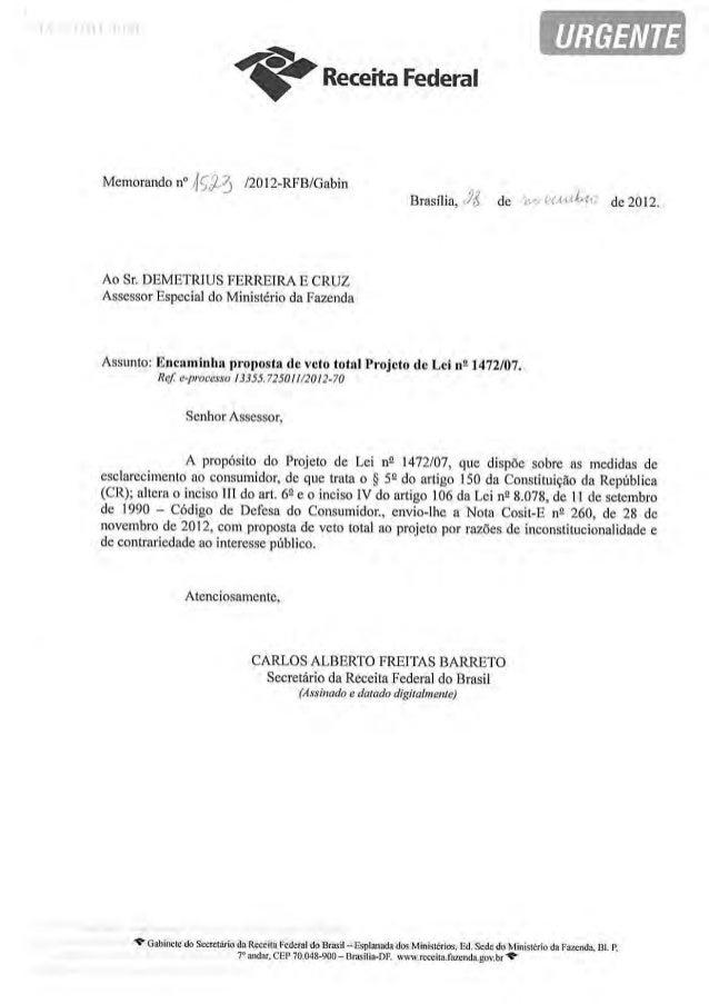 Parecer da Receita Federal do Brasil sobre a Lei 12.741/2012 (PL 1472/2007)