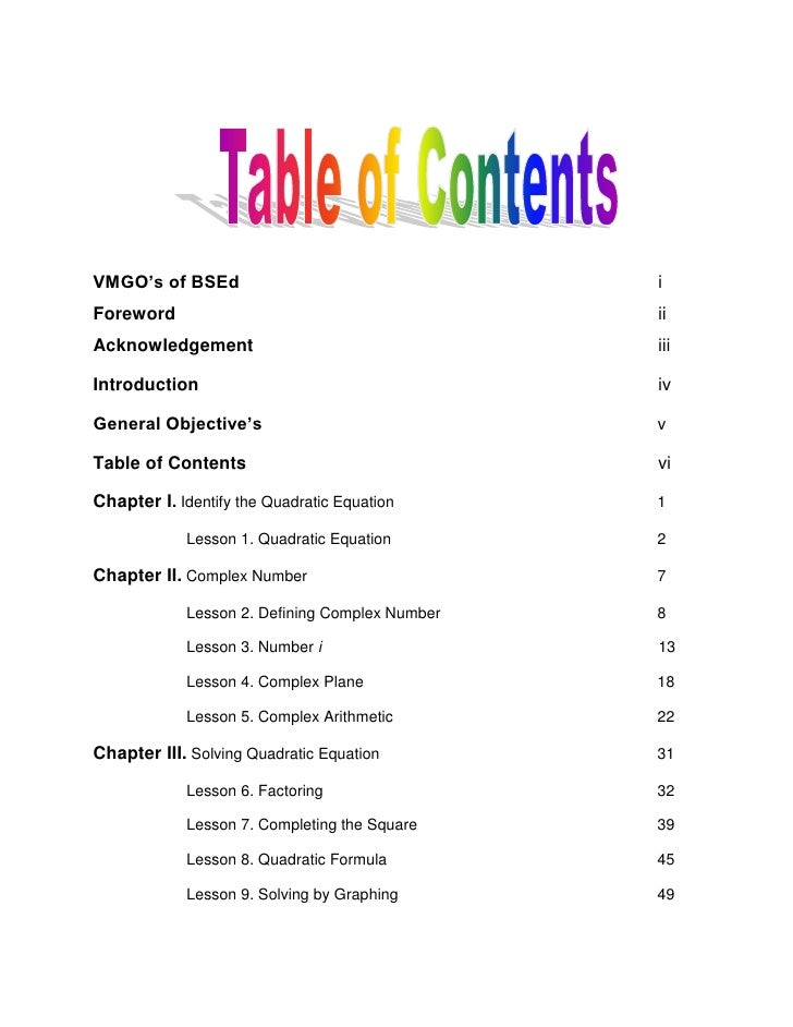 007 table of contents