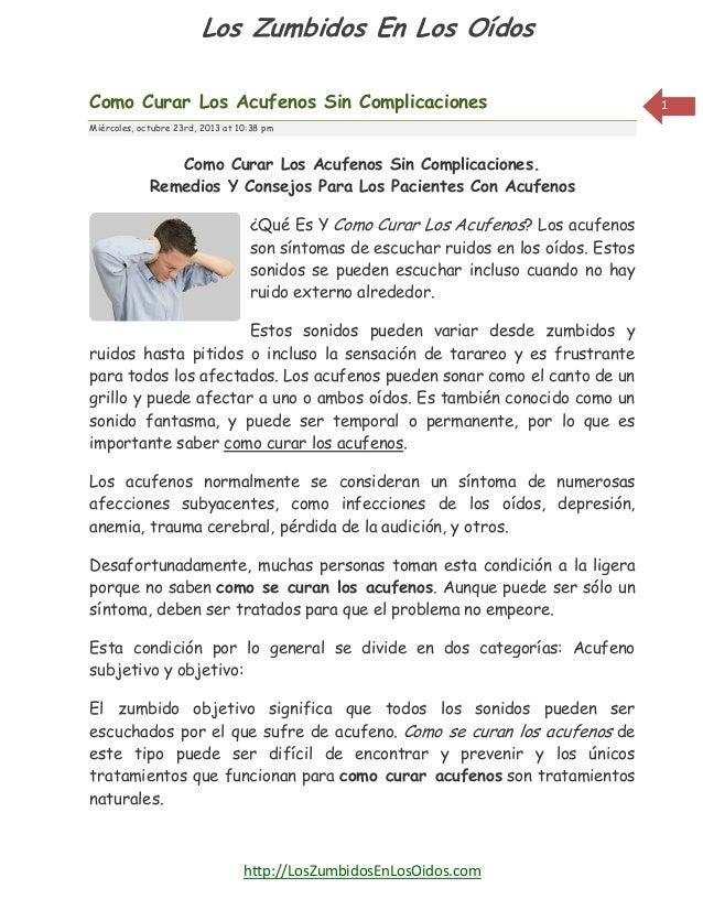 Los Zumbidos En Los Oídos Como Curar Los Acufenos Sin Complicaciones Miércoles, octubre 23rd, 2013 at 10:38 pm  Como Curar...