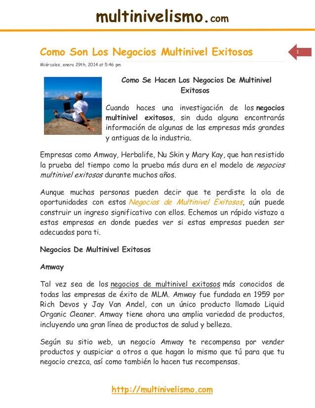 multinivelismo.com Como Son Los Negocios Multinivel Exitosos Miércoles, enero 29th, 2014 at 5:46 pm  Como Se Hacen Los Neg...