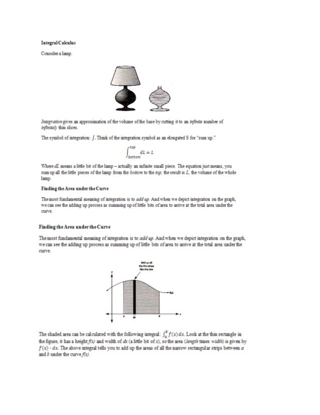 Integral Calculus  Consider a lamp.      Integration gives an approximation of the volume of me base by cutting it to an i...