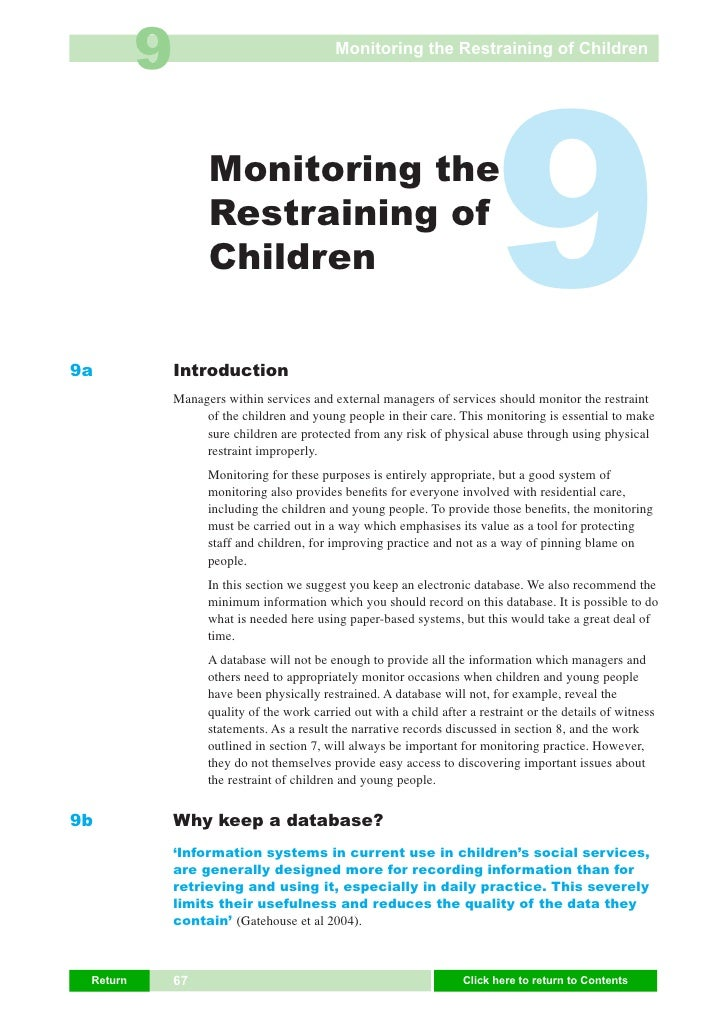 9                                  Monitoring the Restraining of Children     9a                     Monitoring the       ...