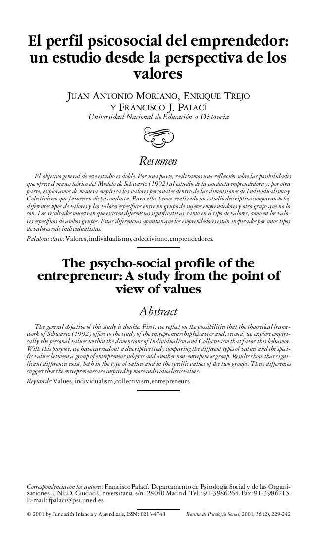 El perfil psicosocial del emprendedor: un estudio desde la perspectiva de los valores JUAN ANTONIO MORIANO, ENRIQUE TREJO ...