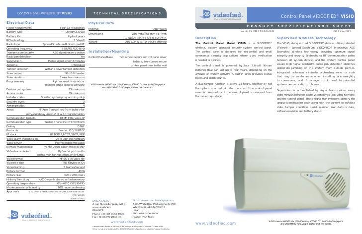 Control Panel VIDEOFIED ® VISIO                                        TECHNICAL                               SPECIFICATI...