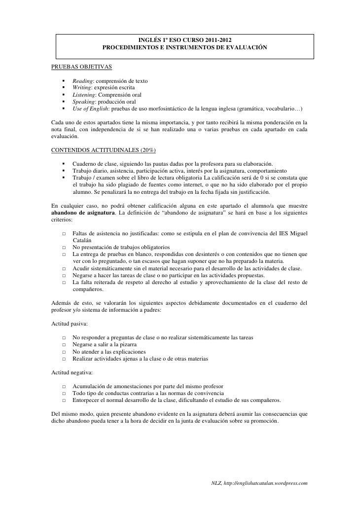 INGLÉS 1º ESO CURSO 2011-2012                    PROCEDIMIENTOS E INSTRUMENTOS DE EVALUACIÓNPRUEBAS OBJETIVAS       Readi...
