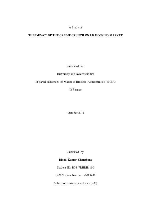 Dissertation credit crunch