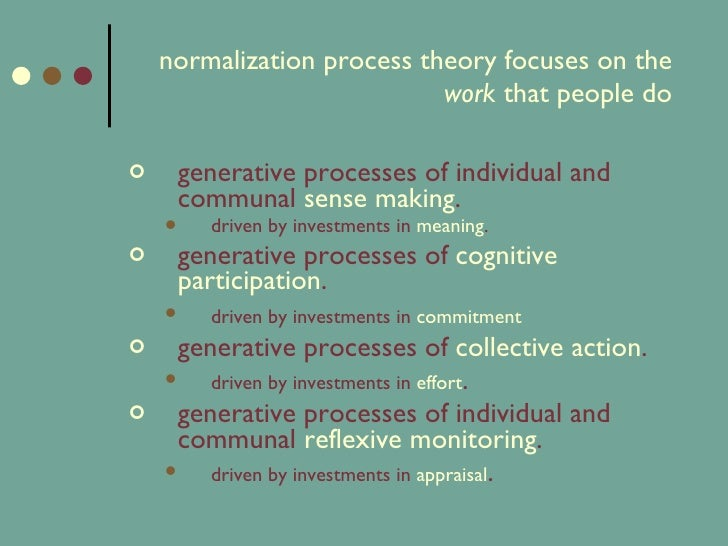 the theory of normalisation Normalisation process theory: a framework for developing, evaluating and implementing complex interventions elizabeth murray 1 email author , shaun treweek 2 .