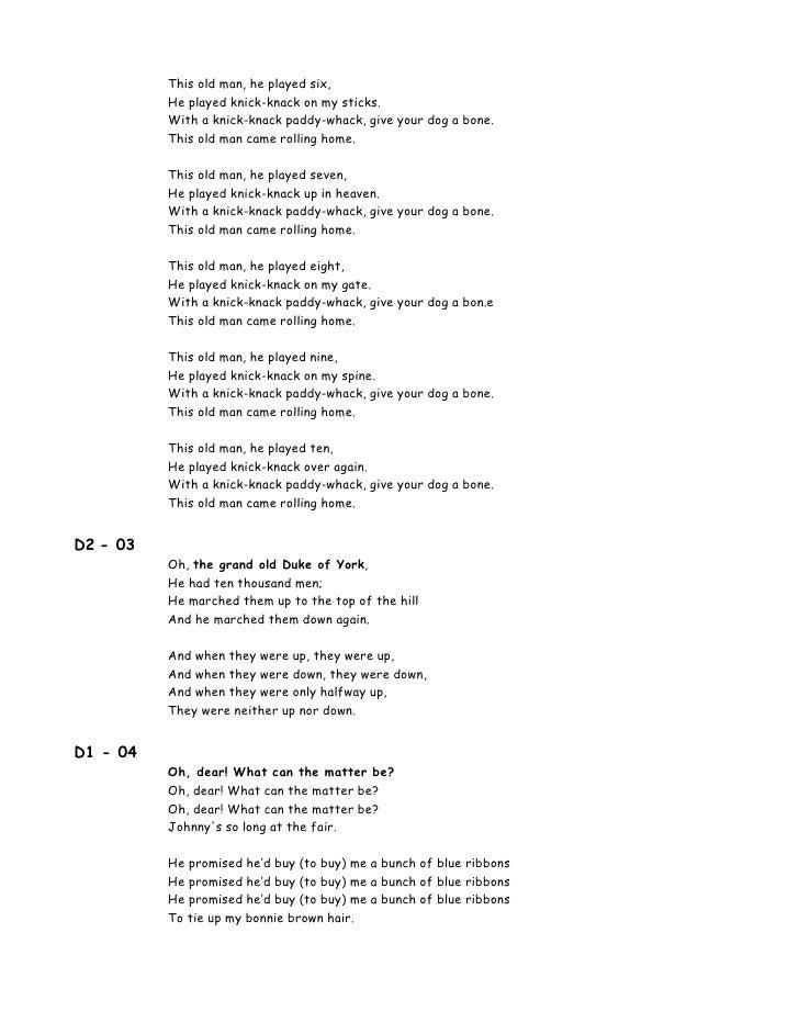 00 lyrics 100 songs for kids for Old house songs