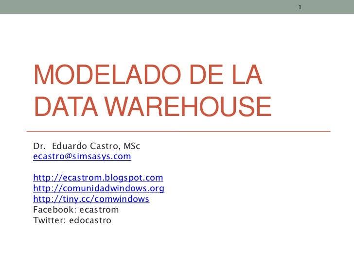 1MODELADO DE LADATA WAREHOUSEDr. Eduardo Castro, MScecastro@simsasys.comhttp://ecastrom.blogspot.comhttp://comunidadwindow...