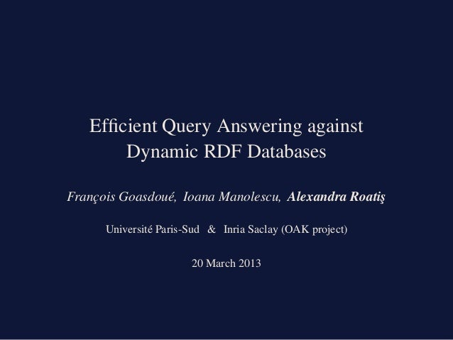 Efficient Query Answering against Dynamic RDF Databases