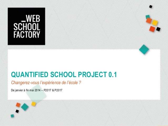 QUANTIFIED SCHOOL PROJECT 0.1 Changerez-vous l'expérience de l'école ? De janvier à fin mai 2014 – P2017 & P2017