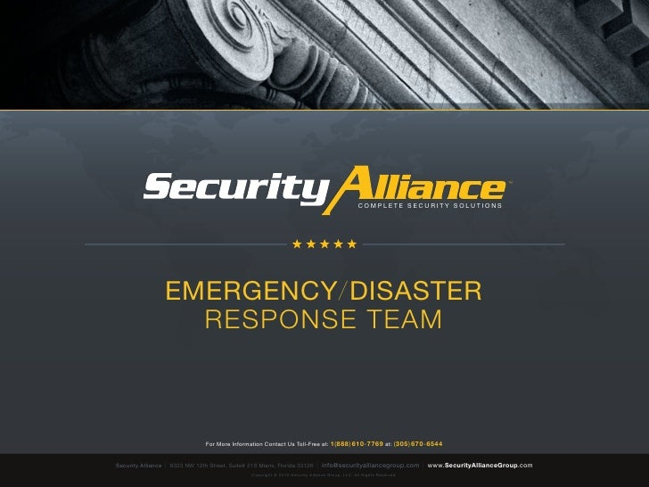 Security Alliance | Complete Security Solutions | Emergency/Disaster Response Team