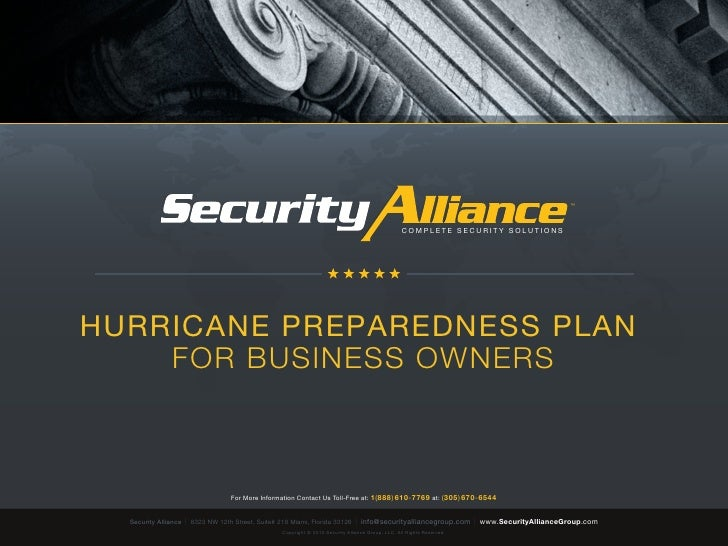 Security Alliance | Complete Security Solutions | Hurricane Preparedness Plan
