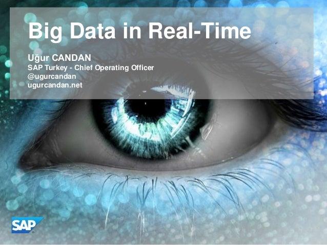 Big Data in Real-Time Uğur CANDAN SAP Turkey - Chief Operating Officer @ugurcandan ugurcandan.net