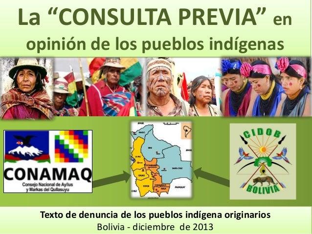 """La """"CONSULTA PREVIA"""" en opinión de los pueblos indígenas  Texto de denuncia de los pueblos indígena originarios Bolivia - ..."""