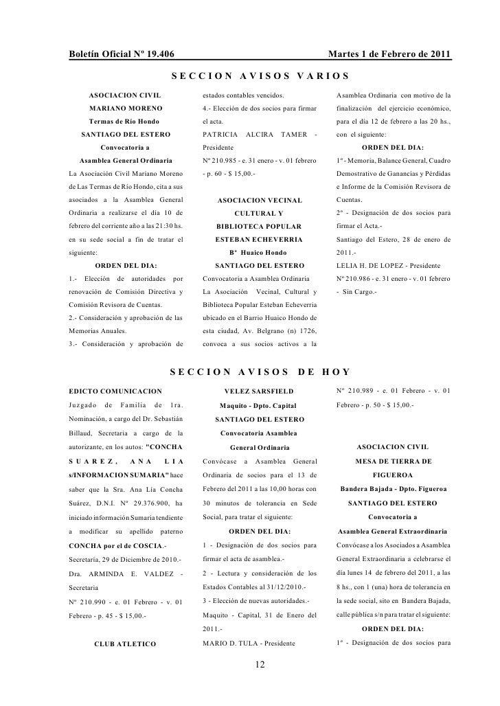 Boletín Oficial Nº 19.406                                                               Martes 1 de Febrero de 2011       ...