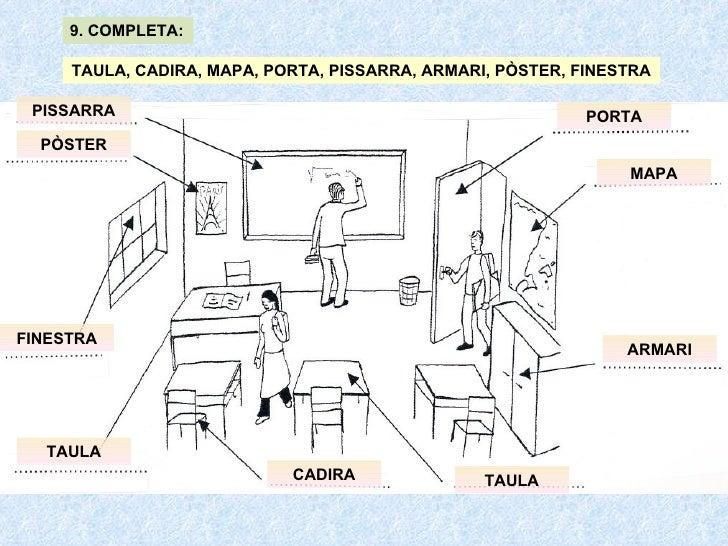 TAULA, CADIRA, MAPA, PORTA, PISSARRA, ARMARI, PÒSTER, FINESTRA 9. COMPLETA: TAULA CADIRA MAPA PORTA PISSARRA ARMARI PÒSTER...