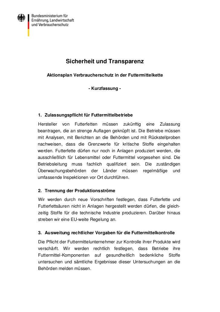 Sicherheit und Transparenz    Aktionsplan Verbraucherschutz in der Futtermittelkette                          - Kurzfassun...