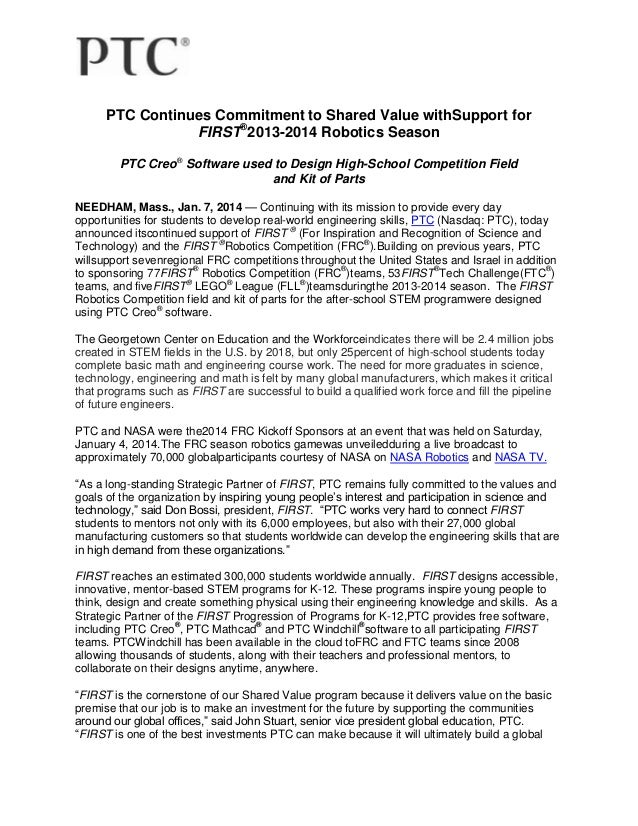 PTC Continues Commitment to Shared Value with Support for FIRST® 2013-2014 Robotics Season