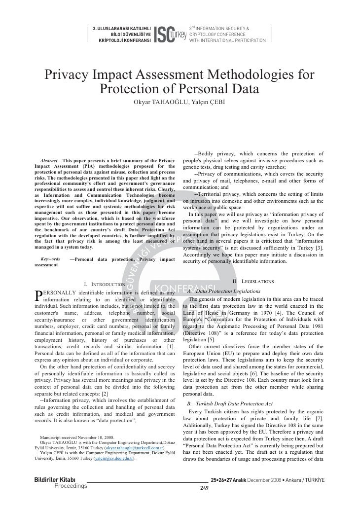 Privacy Impact Assessment Methodologies for Protection of Personal Data
